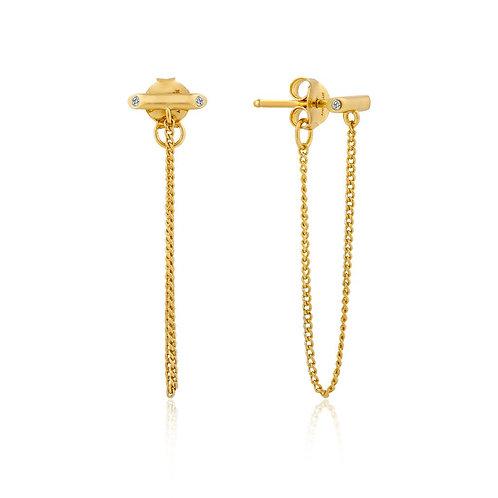 Gold Shimmer Chain Stud Earrings