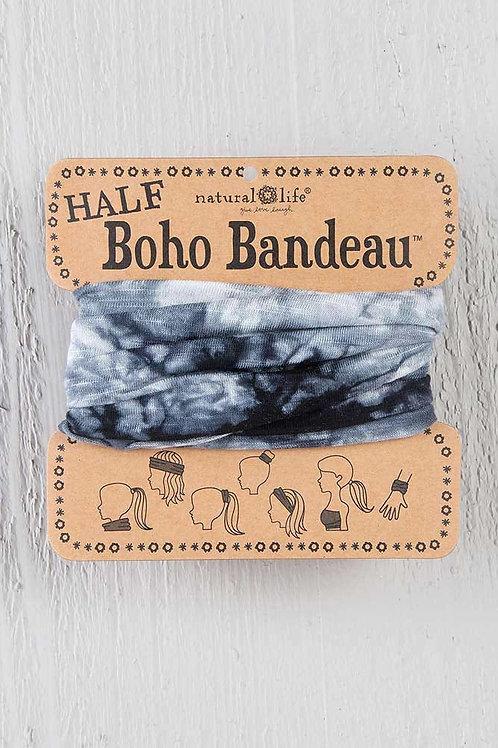 Half Boho Bandeau White & Black Tie Dye