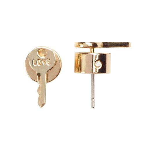 Mini Key Post Earrings - LOVE