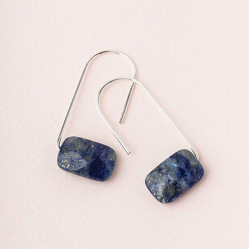 Floating Stone Earring - Lapis & Silver