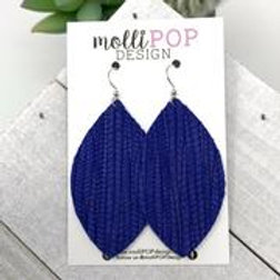 Blue Palm Leaf Earrings