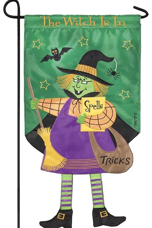 Crazy Legs Witch Double Applique Garden Flag