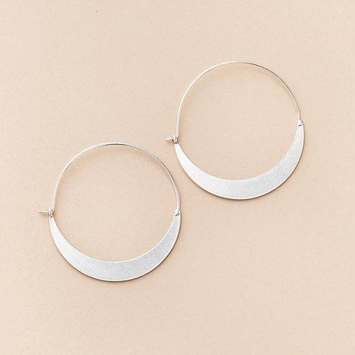 Refined Earring Crescent Hoop Silver