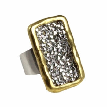 Kristal Plate Ring - Brass- Size. 8