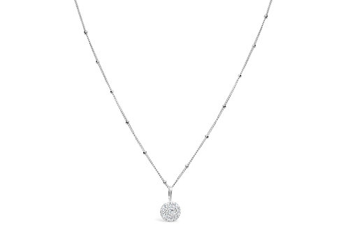 Charm & Chain Pave Disk Necklace