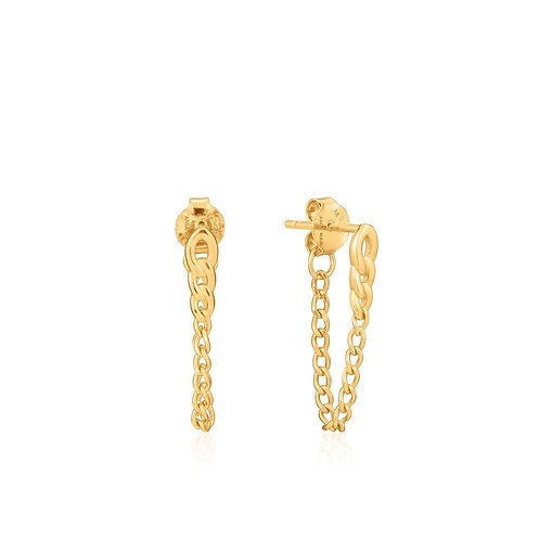 Gold Curb Chain Earrings