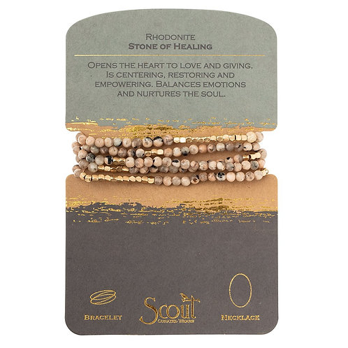 Scout Wrap Bracelet/Necklace Rhodonite Stone of Healing