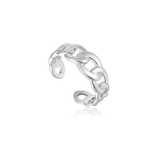 Silver Curb Chain Adjustable Ring