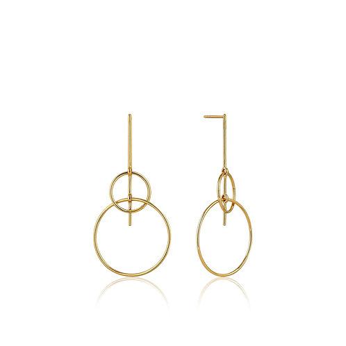 Gold Solid Drop Earrings