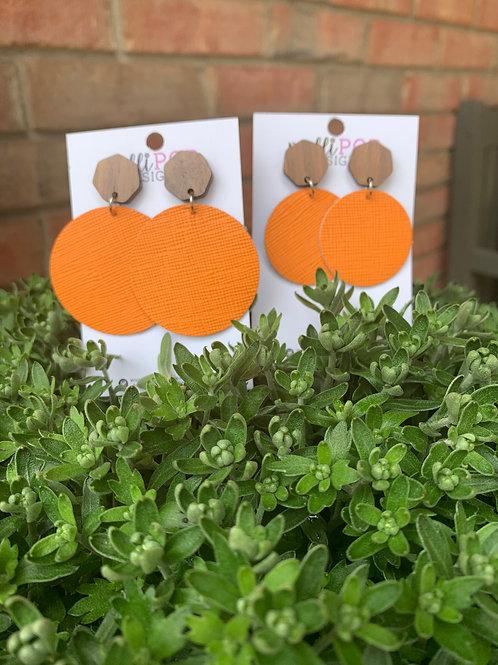 Orange Walnut Stud Earrings