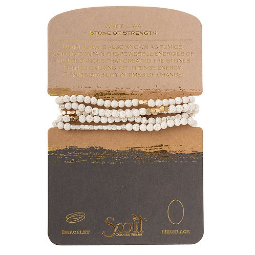 Scout Wrap Bracelet/Necklace White Lava Stone of Strength