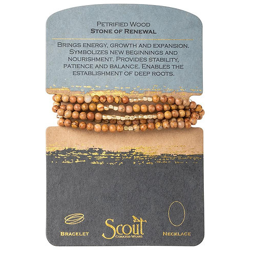 Scout Wrap Bracelet/Necklace- Petrified Wood Stone of Renewal