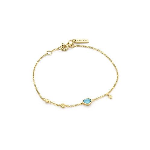 Ania Haie Turquoise Discs Gold Bracelet