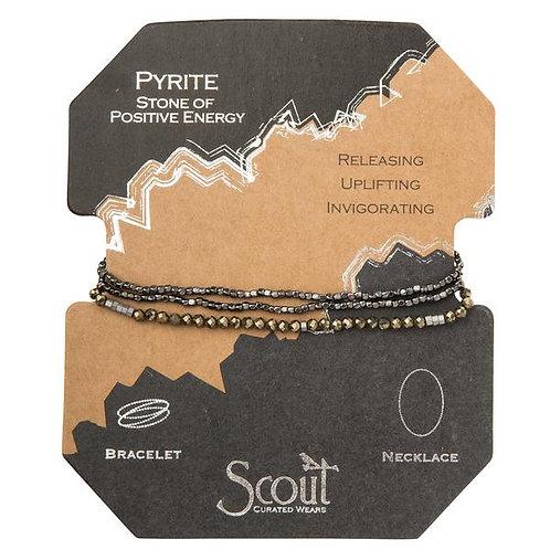 Scout Delicate Wrap Bracelet/Necklace Pyrite Stone of Positive Energy
