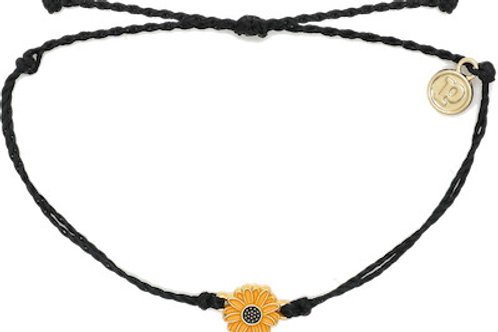 Gold Sunflower Bracelet Black