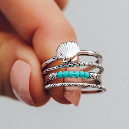 Shell Ring Stack Silver