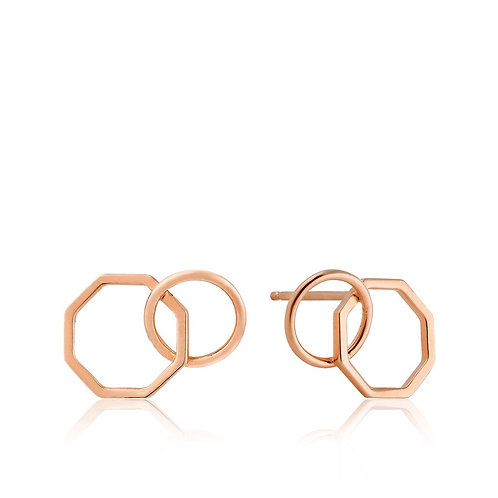 Rose Gold Two Shape Stud Earrings