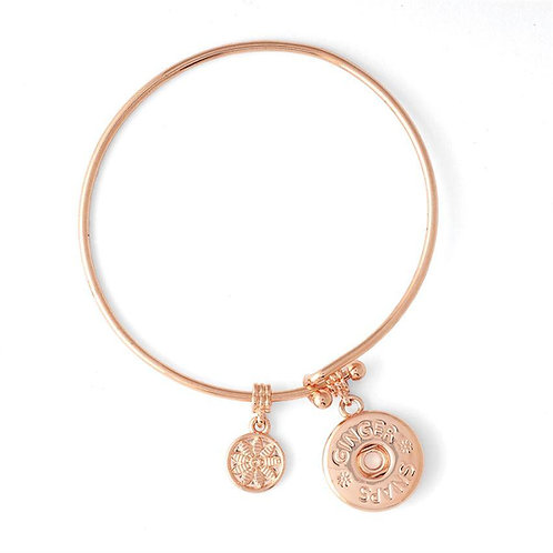 Rose Gold Wire Snap Bangle Bracelet