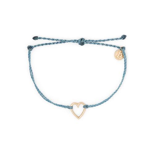 Pura Vida Open Heart Bracelet Rose Gold Dusty Blue