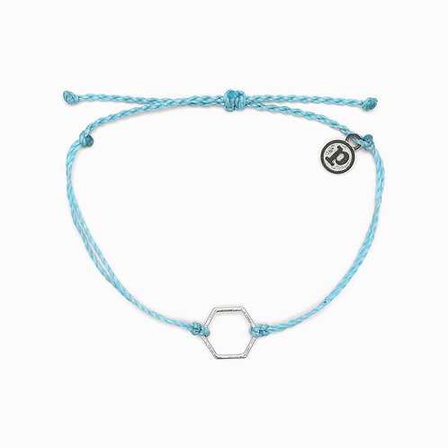 Pura Vida Silver Hexagon Bracelet Blue