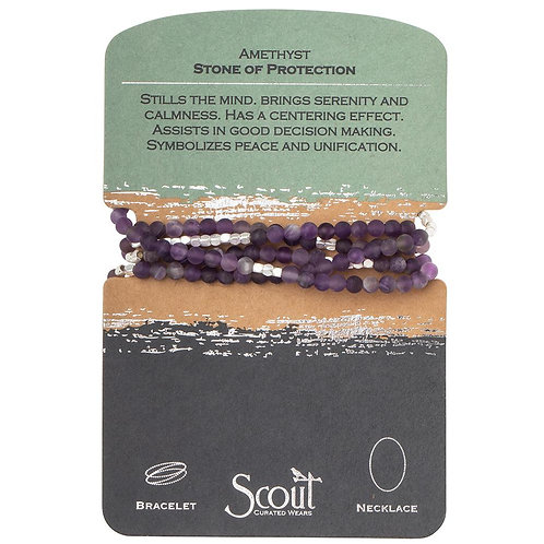 Scout Wrap Bracelet/Necklace Amethyst Stone of Protection