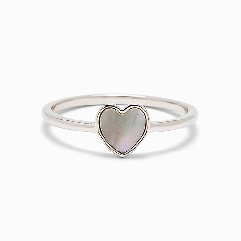 Heart of Pearl Silver Ring