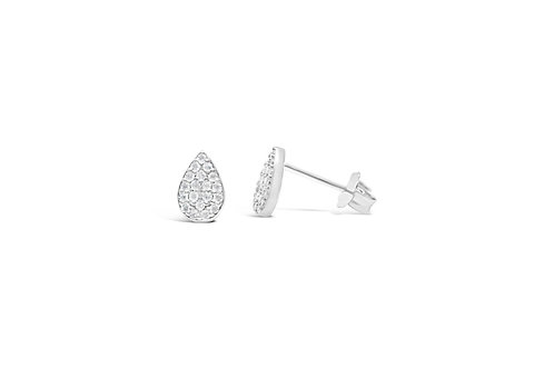 Pave Teardrop Sterling Stud Earrings