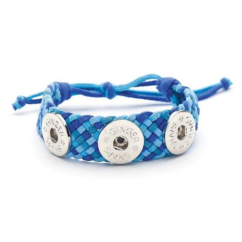 Ginger Snap Blue suede 3 snap criss cross bracelet