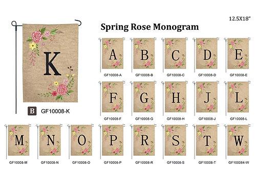 Spring Rose Initial Garden Flag
