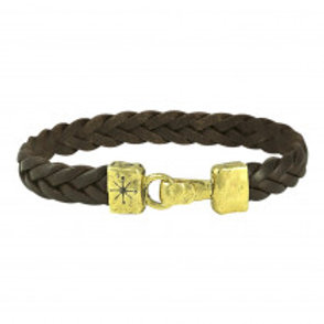UNIFIED FRONT LEATHER BRACELET- BRASS- SMALL