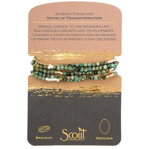 Scout Wrap Bracelet/Necklace African Turquoise Stone of Transformation