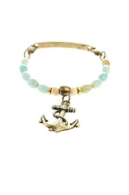 Anchor Bangle Beaded Bracelet