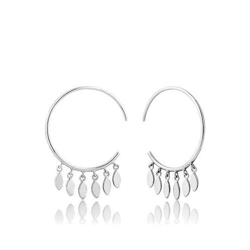 Silver Multi-Drop Hoop Earrings