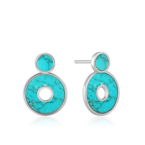 Silver Turquoise Disc Ear Jacket