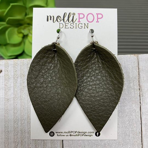Pinched Petal Olive Green Earrings