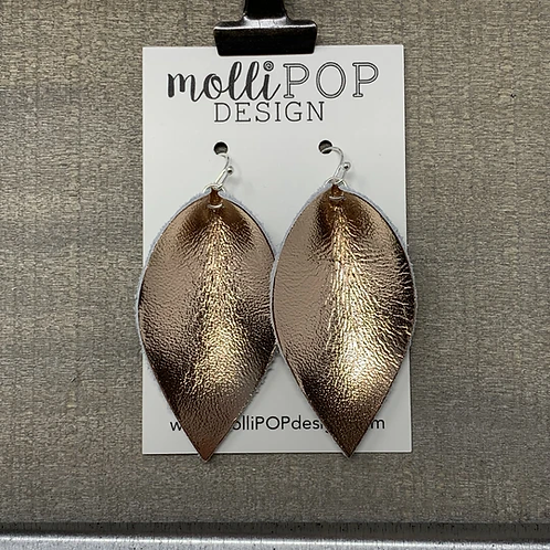 Rose Gold Pinched Leather Earrings