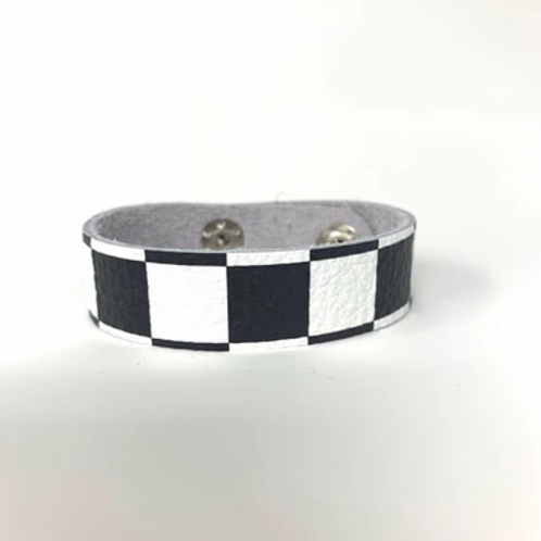 Black & White Check Skinny Cuff