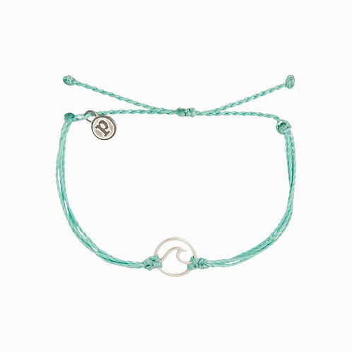 Silver Wave Charm Ice Blue