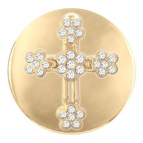 Gold Flower Stone Cross Snap
