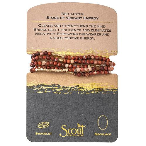 Scout Wrap Bracelet/Necklace Red Jasper Stone of Vibrant Energy