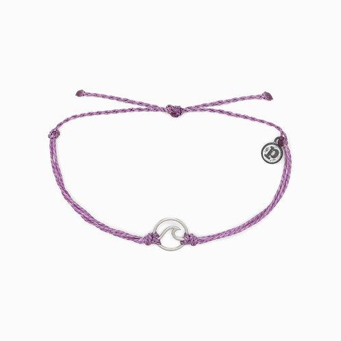Silver Wave Charm Purple Bracelet