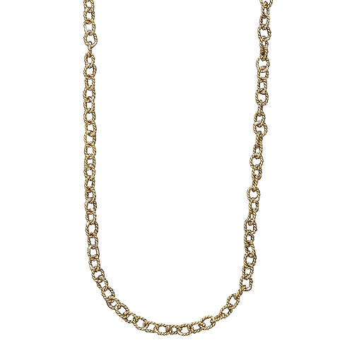 """TWISTED LINK BRASS NECKLACE 30"""""""