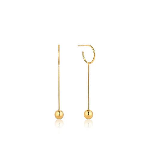 Gold Orbit Solid Drop Earrings