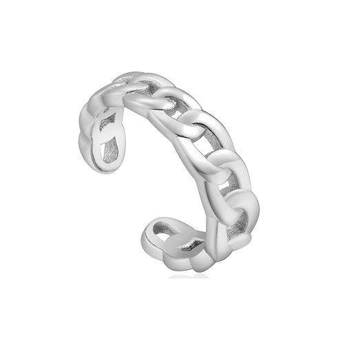 Silver Curb Chain Ear Cuff
