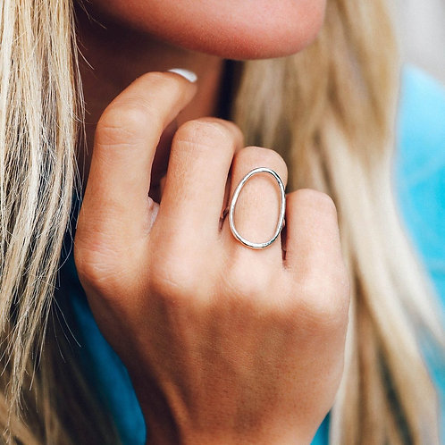 Oval Open Ring Silver