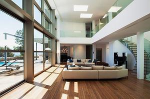 Living Room interior residential window film application heat blocking UV rays.
