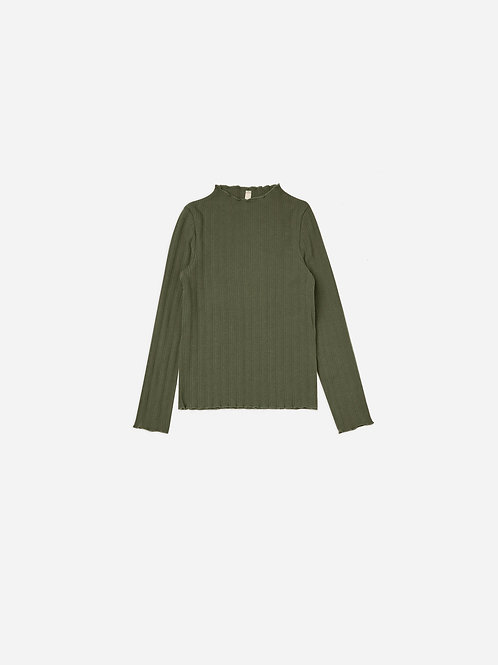 Ribbed Longsleeve Tee in Forest