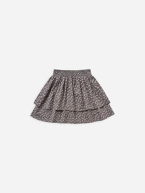 Tiered Mini Skirt in Washed Indigo