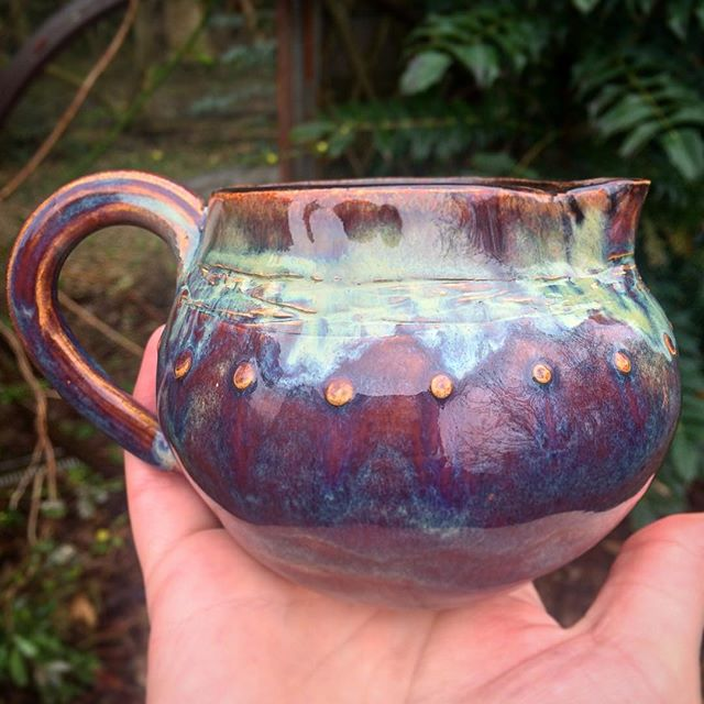 A little jug out the kiln 🔥💚 in blue rutile, seaweed and chun plum 😁
