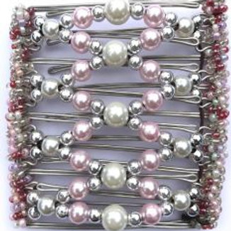 Pink, silver & pearl - 9 prongs